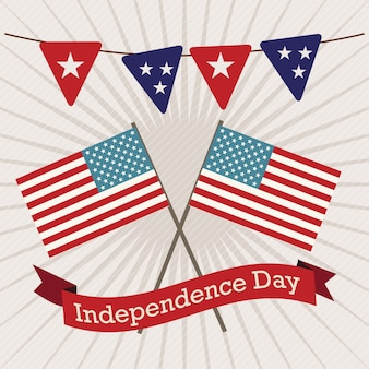 Usa pictogrammen voor vieren met vlaggen op vintage achtergrond