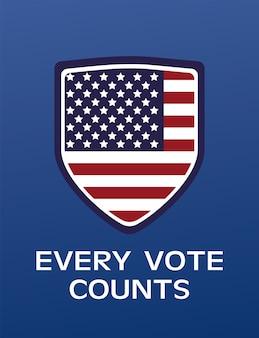 Usa verkiezingen dag poster met vlag in schild