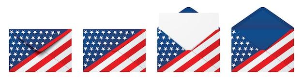 Usa vlag envelop geïsoleerd op witte achtergrond