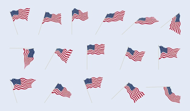 Usa vlag op een vlaggenmast in verschillende hoeken. vouwen van stof op amerikaanse vlaggen. vector illustratie instellen.