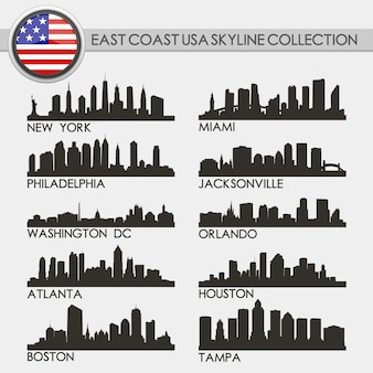 Usa west coast skyline city set