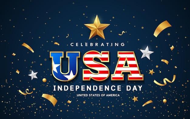 Usa word text amerikaanse vlag met gouden ontwerp op blauwe achtergrond vectorillustratie