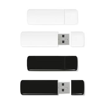 Usb flash drives illustratie van 3d-realistische geheugenstick. zwart en wit plastic mockup