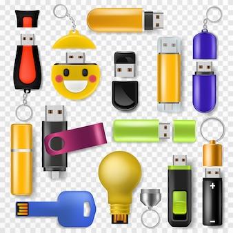 Usb vector flash drive geheugenopslag en digitaal overdrachtsapparaat naar computer illustratie set