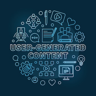 Usergenerated content round outline blue illustration