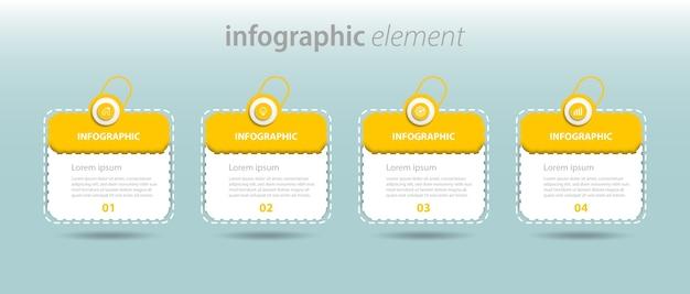 Usiness info grafische sjabloon met optie nummer werkstroom vier stappen