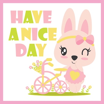 Ute baby konijn glimlacht achtergrond vector cartoon illustratie voor kind t-shirt ontwerp, briefkaart en behang
