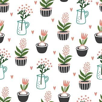 Сute bloempotten naadloze patroon