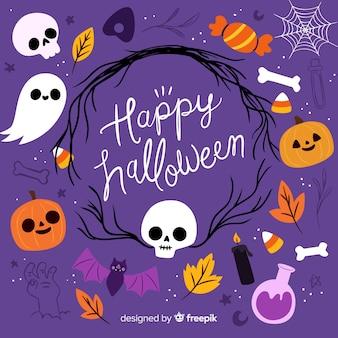 Ute halloween-achtergrond met vlak ontwerp