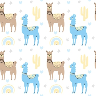 Ute lamas naadloze patroon met cactus regenboog hart ster geïsoleerd op een witte achtergrond