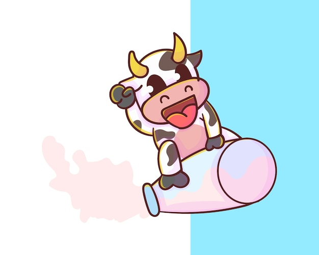 Ute melk mascotte logo, kawaiistijl