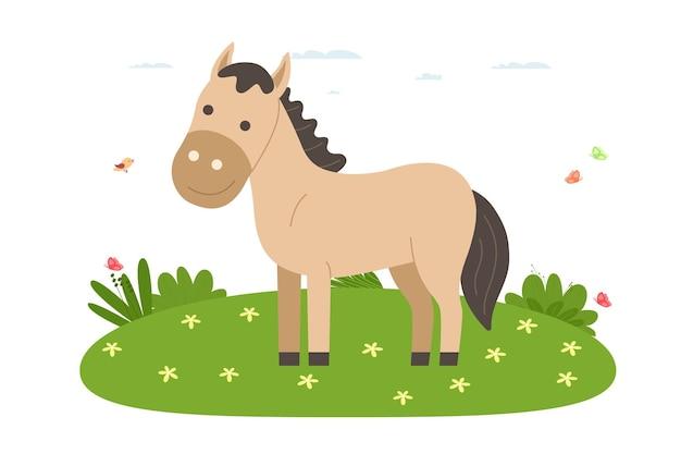 Uur. huisdier, huisdier en landbouwhuisdier. hourse loopt op het grasveld. vectorillustratie in cartoon vlakke stijl.