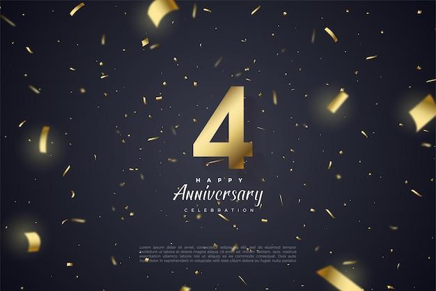 Uw 4e verjaardag met verspreide cijfers en gouden papieren illustraties