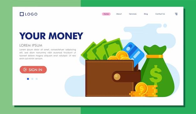 Uw geld bestemmingspagina website illustratie
