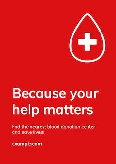 Uw hulp is belangrijk sjabloon vector gezondheid liefdadigheid social media advertentie