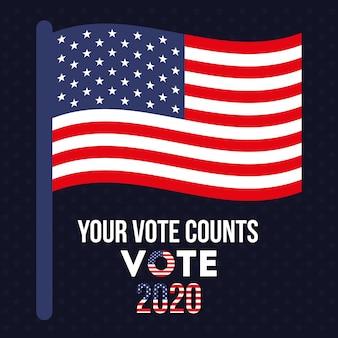 Uw stem telt 2020 met het ontwerp van de amerikaanse vlag, de verkiezingsregering van de president en het campagnethema