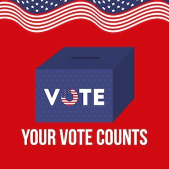 Uw stem telt met het ontwerp van de doos en de amerikaanse vlag, de verkiezingsregering van de president en het campagnethema