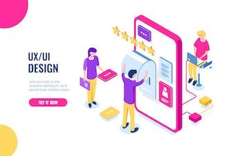 UX UI Design, mobiele applicatie voor ontwikkeling, gebruikersinterface bouwen, scherm voor mobiele telefoon
