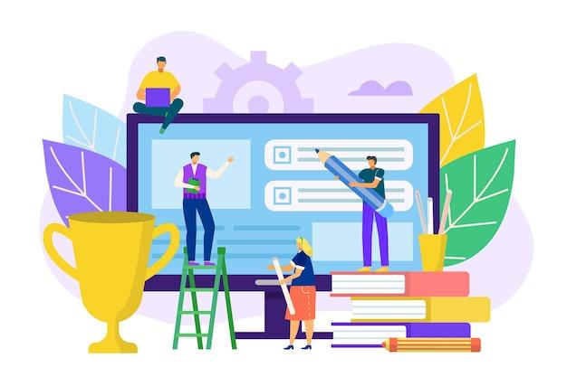 Ux ui ontwerp technologie illustratie. mensenarbeiders maken interface-ontwikkeling op een enorm computerscherm