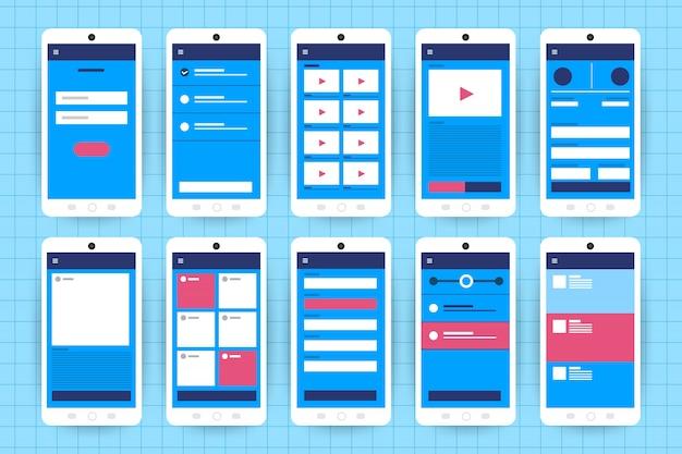 Ux ui-stroomdiagram. s mobiele applicatie concept. illustratie