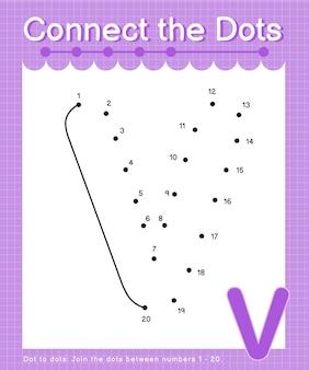 V alfabet verbind de stippen met het tellen van de nummerstip om spelletjes voor kinderen te stippelen