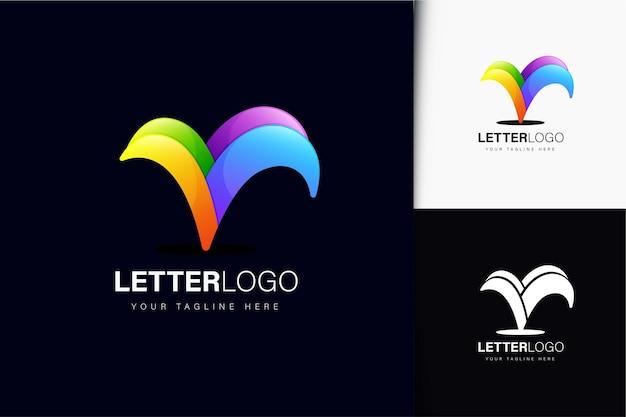 V-letterlogo-ontwerp met kleurrijk verloop