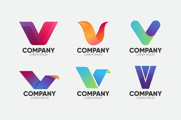 V logo collectie concept