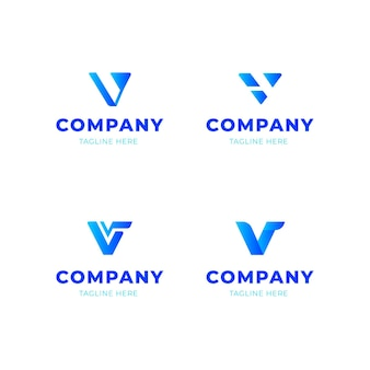 V logo design collectie