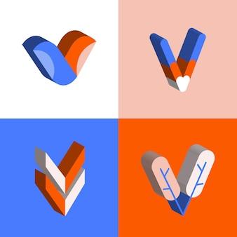 V logo design collectie