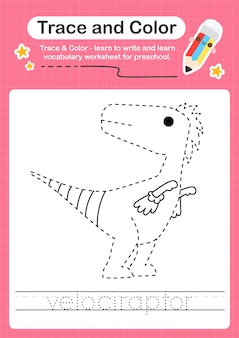 V overtrekwoord voor dinosaurussen en kleurwerkblad met het woord velociraptor