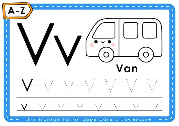 V - van: alfabet az transport tracing letters werkblad
