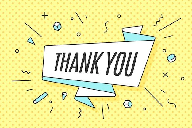 Vaandel met tekst bedankt voor emotie, schuld en nieuwsgierigheid. hand getekend ontwerpelement voor spandoek, reclame of poster voor thanksgiving day, memphis-stijl.