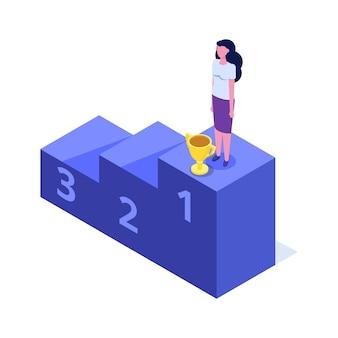 Vaardigheidsniveau, opleidingsniveau en personeel. het pad naar succes isometrisch concept.