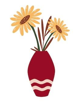 Vaas met zonnebloemen. bos van planten boeket in vaas. herfst wilde bloemen. bloeiende bloemen