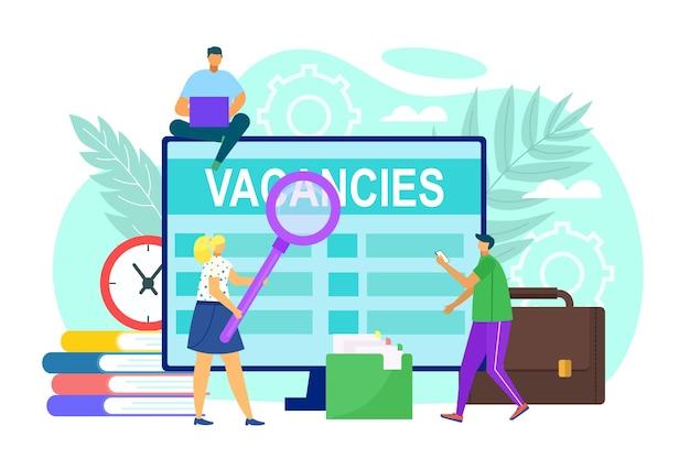 Vacature op scherm vector illustratie man vrouw persoon zoeken werk online zakelijke werknemer openhartig...