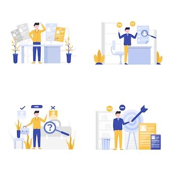 Vacatures werven nieuwe werknemers bij illustratie van bedrijven en organisaties,