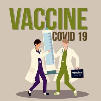 Vaccin artsen karakters met spuit en kit vaccinatie illustratie