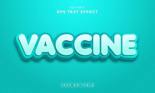 Vaccin bewerkbare 3d-teksteffect premium vector