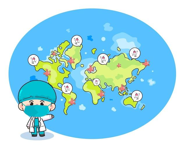 Vaccin en coronavirus in wereldkaart handgetekende cartoon kunst illustratie