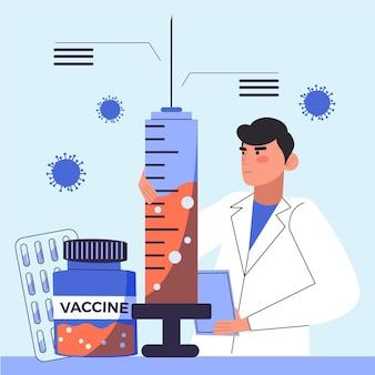 Vaccin in een groot spuit ontwikkelingsconcept
