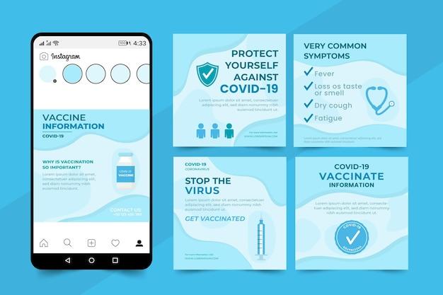 Vaccin instagram post decorontwerp plat