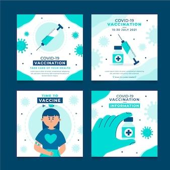 Vaccin instagram post set plat ontwerp