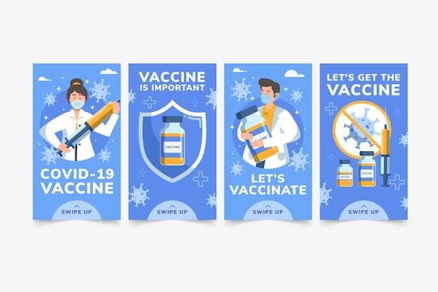 Vaccin instagram verhalencollectie plat ontwerp