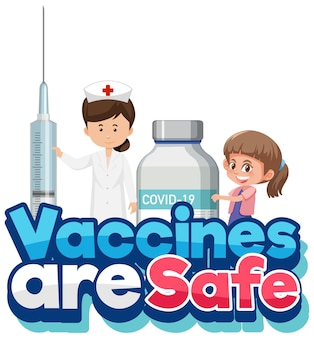 Vaccin is veilig lettertype met spuit en vaccinfles