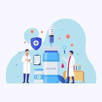 Vaccin ontwikkelingsprogramma ontwerp concept illustratie