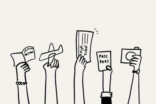 Vaccin paspoort doodle vector gezondheid concept