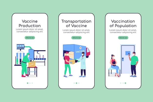 Vaccin productie onboarding mobiele app scherm platte vector sjabloon. walkthrough website 3 stappen met karakters. creatieve ux, ui, gui smartphone cartoon interface, case prints set