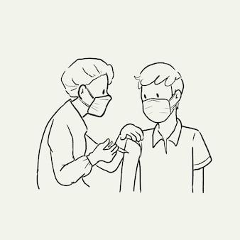 Vaccin toediening nieuw normaal, vector kunst illustratie