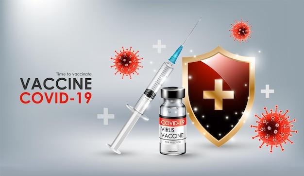 Vaccin voor coronavirusziekte covid19 met realistische vaccinflesspuit en schild.