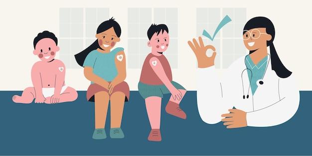 Vaccin voor kinderen kinderen na vaccinatie met verpleegster kind met pleister van injectie